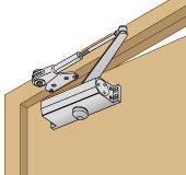 ドアを押し開く側に取り付けるタイプ